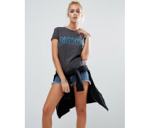 T-Shirt in Girl-Fit mit Rock Off-Print Schwarz