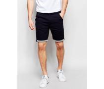 Chino-Shorts mit gestreiftem Beinaufschlag Marineblau