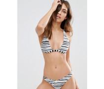 Wendbares Triangel-Bikinioberteil, in Khaki/gestreift Mehrfarbig