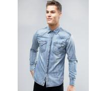 Jeanshemd in heller Waschung mit regulärer Passform Blau