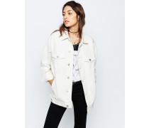 Girlfriend-Jeansjacke in gebrochenem Weiß Weiß