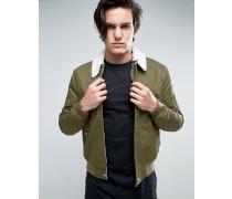 Harrington-Jacke mit Borg-Kragen in Khaki Grün