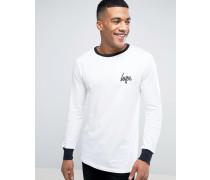 Ringer Langärmliges Shirt in Weiß Weiß