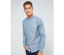 Blau gestreiftes Hemd mit 2 schlichten Tasche Blau