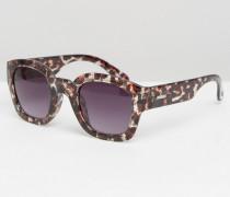 Bedruckte, eckige Sonnenbrille Braun