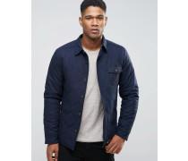 Hemdjacke aus Wolle mit Steppfutter und melierter Tasche Marineblau