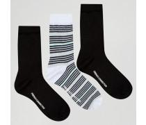 Gestreifte, glitzernde Socken im Zweierset Schwarz