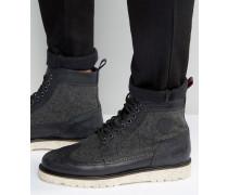 Northgate Budapester-Stiefel aus Leder und Wolle Schwarz