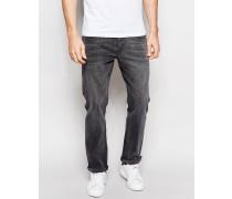 Gerade geschnittene Stretch-Jeans in Mittelgrau Grau