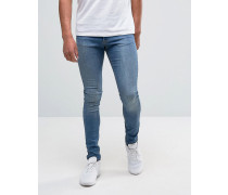 Brooklyn Supply Co Hunter Jeans in Stonewash- und Spray-On-Optik Blau