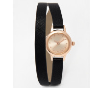 Uhr mit Wickelarmband und kleinem Zifferblatt Schwarz