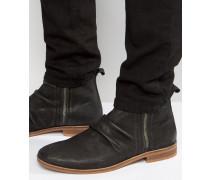Chelsea-Stiefel aus schwarzem Wildleder mit doppeltem Reißverschluss Schwarz