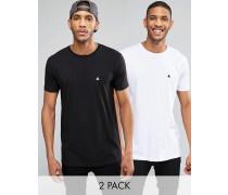 Lang geschnittene T-Shirts mit Rundhalsausschnitt und Logo im 2er-Pack, Schwarz/Weiß, RABATT Mehrfarbig