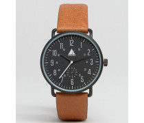 Schwarze Armbanduhr mit hellbraunen Details Schwarz