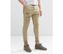 Harem-Jeans mit Oberschenkelrissen Steingrau