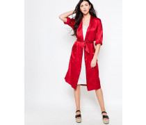 Trinity Seersucker-Wickelkleid im Kimono-Stil Rot