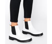 Klobige, flache Stiefel Weiß