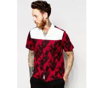 Hemd mit Reverskragen und Pflanzenmuster Rot