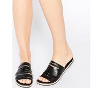 Jackie Flache Espadrilles-Sandalen aus schwarzem Leder mit Riemen Schwarz