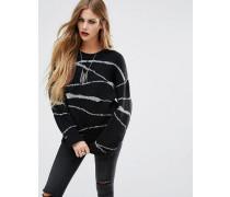 Übergroßer Pullover mit kontrastierendem Wellenmuster Schwarz