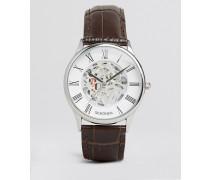 Exklusiv bei ASOS Braune Lederarmbanduhr mit sichtbarem, mechanischem Uhrwerk Braun
