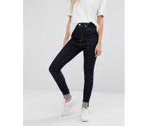 Oki Enge Jeans mit hohem Bund Marineblau
