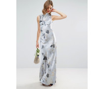WEDDING Silbernes Maxikleid mit Nähten und Rosen im Stil der 40er Jahre Mehrfarbig