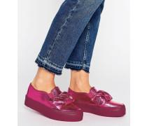 DARA Sneaker mit flachem Plateauabsatz und Schleife Rosa