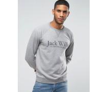 """Sweatshirt mit """"""""-Print und Raglanärmeln in Granit Grau"""