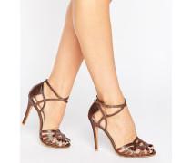 Sandalen mit Absatz und Riemen in Bronze Kupfer