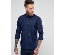 Hemd mit Allover-Print Marineblau