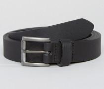 Schmaler Ledergürtel in Schwarz Schwarz