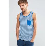 Schmales Trägershirt mit Streifen und einer Tasche in klassischem Blau Blau