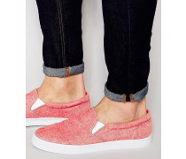Chambray-Stoffslipper in Rot Rot