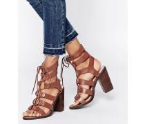 Roman Absatz-Sandalen mit Schnürung Bronze