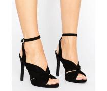 Sandalen in Wildlederoptik mit Wickeldesign vorne Schwarz