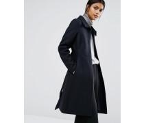 Langer Mantel mit Gürtel Marineblau