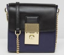 Umhängetasche aus Leder mit Zierschloss Blau