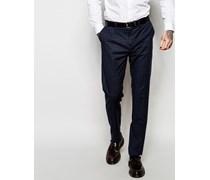 Kleinkarierte Anzughose mit schmalem Schnitt Blau