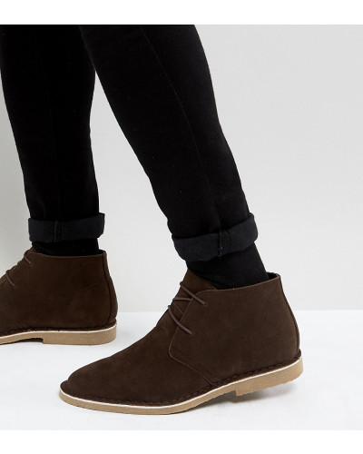 ASOS Herren Wide Fit - Desert Boots in brauner Wildlederoptik Niedrig Kosten Günstig Online Verkauf Extrem Kosten Zum Verkauf Finish Rabatt Mode-Stil LbnM5X