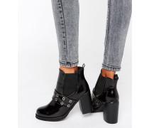 Chelsea-Stiefel mit Absatz und Ösendetail Schwarz