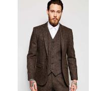 Schmale Anzugjacke aus braunem Harris-Tweed, 100% Wolle Braun