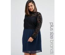 Plus Tiva Kleid mit Spitzenoberteil Marineblau