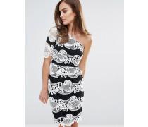 Spitzenkleid mit Farbblockdesign in Schwarz/Weiß Mehrfarbig