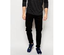 Jeans Anbass Schmal geschnittene Stretch-Jeans in Reinschwarz Schwarz