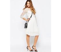 Kleid mit 3/4-Ärmeln und Spitzenlage Weiß