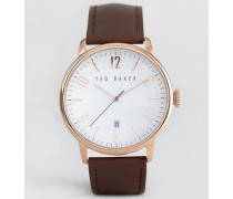 Klassische Uhr mit braunem Lederarmband und roségoldenem Ziffernblatt Braun