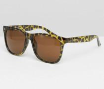 Eckige Sonnenbrille mit Leopardenmuster Schwarz