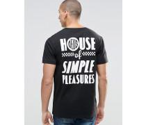 T-Shirt mit Simple Pleasure-Print hinten Schwarz