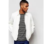 Weiße Jeansjacke mit elastischem Saum Weiß